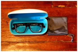 warby parker chamberlain frames in case with 1.72 high index lens | petitely packaged