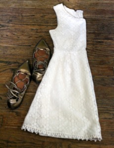 Petite friendly lace dress accented with gold lace up flats from Gap. | petitely packaged