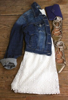 Petite friendly lace dress accented with denim jacket and  gold lace up flats from Gap. | petitely packaged